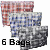 6 x Large Strong Zipped Reusable Shopping Grocery Laundry Luggage Storage Bags