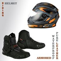 Men's Motorcycle Helmet Pure Leather Armored Short Ankle Touring Bikers Boots CE