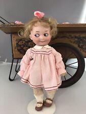"""9"""" Antique Bisque Head German Doll GB 253 AM Googly Nobbi Kid"""