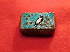 """Vintage 1 1/2"""" Hand Painted Brass Snuff Box."""
