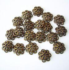 10-Antiqued Bronze Flower Bead Cap 14mm.