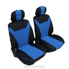 FRONT BLUE- BLACK FABRIC SEAT COVERS FOR CAR VAN BUS MPV MOTORHOME TRUCK CAMPER