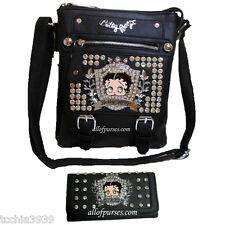 Betty Boop black Rhinestone Cross-body Messenger Taupe L wallet set Dual Bags