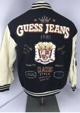 Vintage GUESS Georges Marciano Wool Blend Leather Varsity Letterman Jacket Sz S