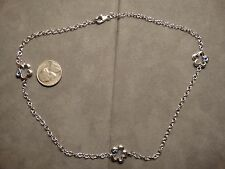 NEW 925 SOLID STERLING SILVER 3 STATION SAPPHIRE GEMS CHAIN NECKLACE RHODIUM