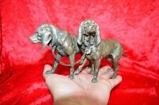 Bloodhound Statue silvered  Bronze Antique 19th GROUP OF 2 POINTERS Hunting