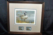 Robert Bateman CANADA GOOSE Edition Pride of Autumn 1987 Print and 2 Stamps