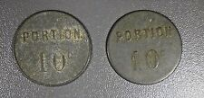 1870's FRANCE 2 FRENCH EMERGENCY COINS BLANCHISSERIE / DE / THAO 10 CENTIMES