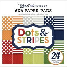 Boy Dots & Stripes Collection Scrapbooking 6x6 Paper Pad 24 Sheet Echo Park