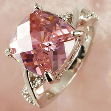 Luxury Pink White Gemstone Fashion Jewelry Ladies Women Gift Silver Ring Size 7
