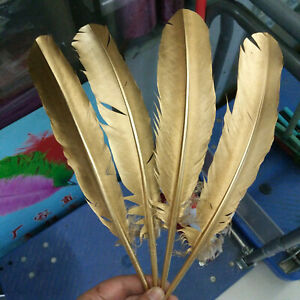 Beautiful 10-100pcs Gold/Silver Natural Turkey Feathers 25-30cm/10-12inches Opt