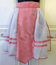 Authentic Vintage 1950's Hostess Apron Red & White Gingham & Organza with Pocket