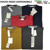 Maglia Maglione Maglioncino Uomo Paricollo Girogola Tinta Unita in lana rasata