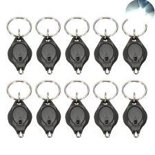 10Pcs Bright White Mini LED Keychain Key Ring Flash Flashlight Torch Light Lamp