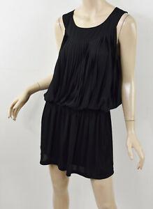 COMPTOIR DES COTONNIERS Solid Black Elastic Drop-Waist Pleated Blouson Dress L