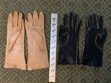 2 Pairs of Soft Vintage Leather Gloves - Colors Black & Tan / Beige Size 7 1/4