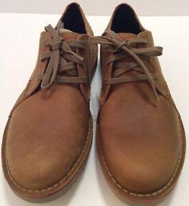 Clarks Mens Vargo Plain Oxford Shoes, Size 9.5 M Dark Tan Leather Casual Shoes