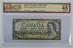 1954 BANK OF CANADA TWENTY DOLLARS B/E 4042516 DEVILS FACE CHANGEOVER NOTE