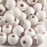 Lot de 100 perles rondes en Bois 8mm Blanc