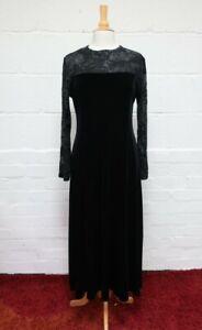 Gorgeous Vintage Ladies Alexon Maxi Black Velvet Dress L/S Size UK16 | New Tags