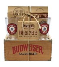 Budweiser Limited Ed. Wooden Crate Box Pint Glass Gift Set w/ Peanuts & Pretzels