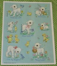 VINTAGE HALLMARK EASTER SPRING RELIGIOUS LAMB~BUNNY~DUCK~CHICK STICKERS SHEET