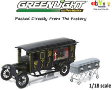 GREENLIGHT 1921 FORD MODEL T ORNATE CARVED HEARSE With COFFIN 1/18 BLACK 18013