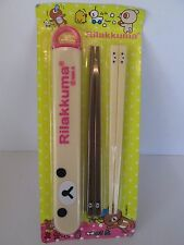 RILAKKUMA 2 Pr Chopsticks w/ Matching Korilakkuma Case by San-X Japan NEW Sealed