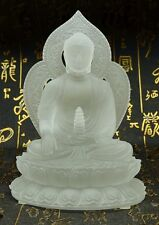White Color Medicine Buddha Crystal Sculpture Art Glass Statue