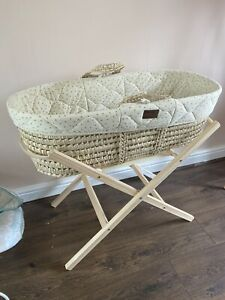 Little Green Sheep Moses Basket, Mattress, Stand And Fitted Sheet Linen Rice