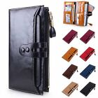 Hot Women's Large Capacity Luxury Waxy Genuine Leather Wallet with Zipper Pocket