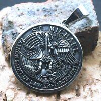 Stainless Steel Medal Archangel St Michael Saint of Law Prayer Pendant Talisman