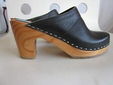 Clogs mules American Apparel leather wooden heel size 6
