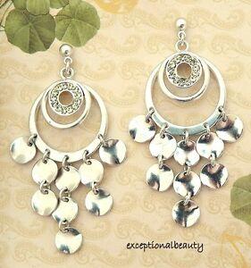 Triple Hoop Pierced Dangle Antiqued Silver Yellow Rhinestone Stud Post Earrings