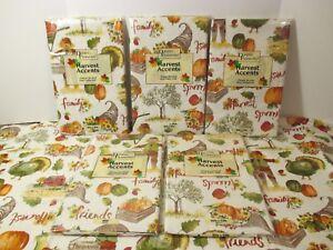 NIP DINING FASHIONS Green Turkey Thanksgiving Fall Vinyl Easy Wipe Tablecloth