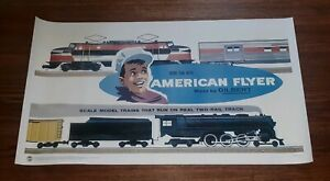 AMERICAN FLYER BY GILBERT MODEL TRAINS art vintage print poster MADE IN THE USA