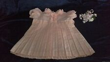vintage style dress apricot spot pleats s2 bow back frills puff sleeves