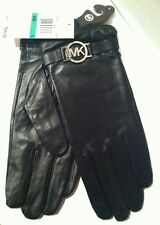 MICHAEL KORS Black Leather Gloves MK Silver Circle LOGO Sz Med, Large, Or XL $88