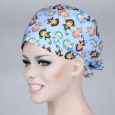 Women's Ladies Lovely Monkey Print Cap Nurses Surgery Medical Surgical Hat/Cap