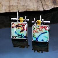 Elegant 925 Silver Dangle Drop Earrings Ear Hook Vintage Turquoise Women Jewelry
