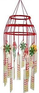 NIB glass wind chime vintage chinese restaurant style hand painted floral & dots