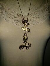 Vintage statement necklace long bear deer fox owl nature woodlands artisan