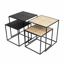 Beistelltisch Qpas - Tisch Set aus Metall & Holz - Industrial Look - 2 Farben