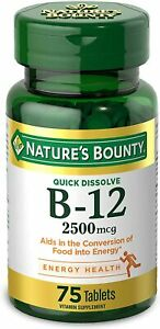 Vitamin B12 by Nature's Bounty, Quick Dissolve Vitamin Supplement, Supports...