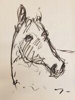 JOSE TRUJILLO Original Charcoal on Paper Sketch Drawing 18X24 ART Horse Portrait
