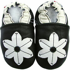 soft leather baby shoes pop flower black 3-4t