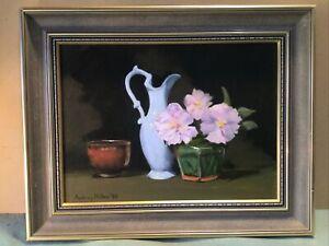 Audrey Miller 1990 Still Life Framed Oil Painting