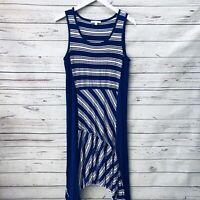 SPENSE Sleeveless Midi Dress Size Large Blue White Striped Sharkbite Hem Stretch