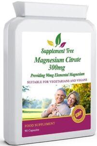 MAGNESIUM CITRATE 300mg Capsules, High Strength 30% ELEMENTAL (90/180/360 Packs)