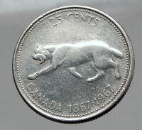 1967 CANADA Confederation Centennial Silver 25 Cents Coin LYNX Wild Cat i62910